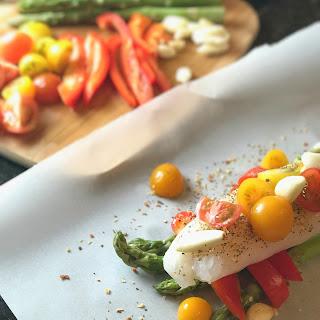 Simple Steamed Fish & Veggie Parchment Pouches.