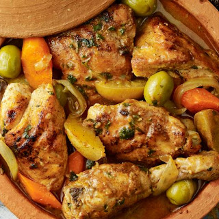 Spiced Chicken Tagine with Preserved Lemon and Olives.