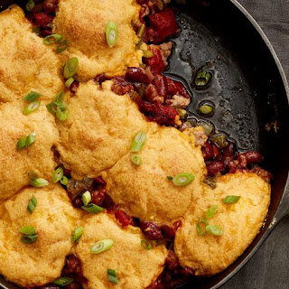 Sausage and Red Bean Skillet with Cornbread Biscuits.