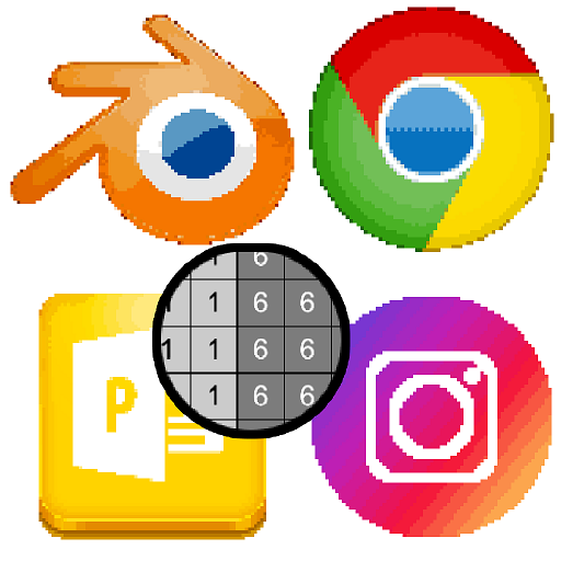 Internet Logos Color by Number: Pixel Art Coloring Icon