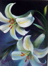 Photo: KP36 White Lilies with Border (for 18 x 24 canvas) $6.99