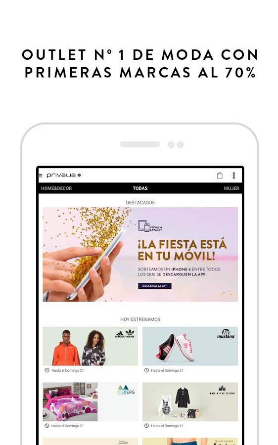 Privalia, outlet moda online- screenshot