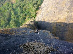 Photo: Ajit, following the now more technical P1 on the upper half of Duke's Nose, Lonavla, Maharashtra, India.