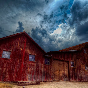 Broadside by Christian Wicklein - Buildings & Architecture Public & Historical ( clouds, red, barn, hdr, blue,  )