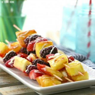 Grilled Fruit Kebabs with White Chocolate Drizzle.