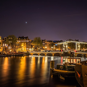 Magere Brug in Amsterdam. by Lars-Ove Törnebohm - City,  Street & Park  Night ( tornephoto, holland, nightphoto, amsterdam, netherlands, city at night, street at night, park at night, nightlife, night life, nighttime in the city )