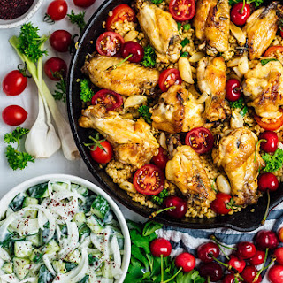 One Pan Garlic Lemon Chicken Wings with Bulgur.