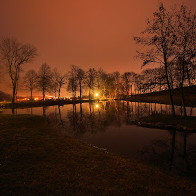 Brühlteich in Schwarzenau by Franz  Adolf - City,  Street & Park  Night ( night, lake, pond )