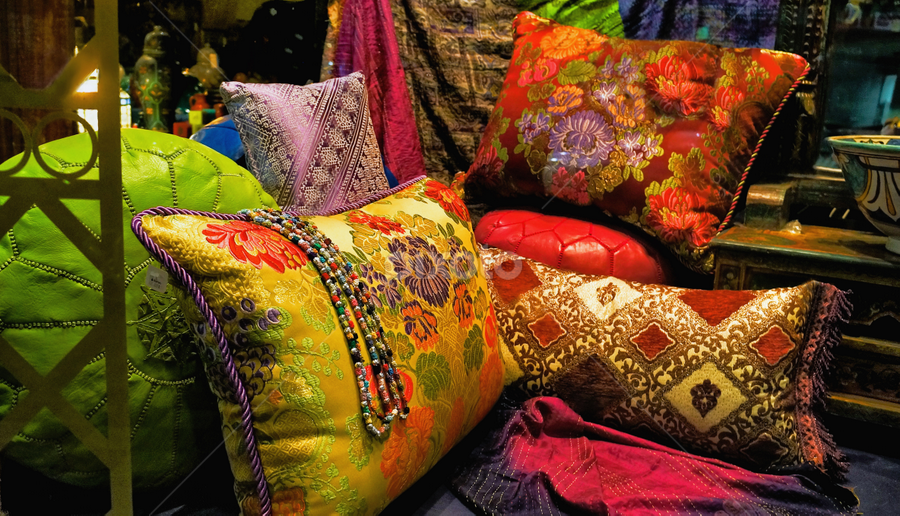 A touch of India  by Loredana  Smith - Artistic Objects Other Objects ( home, craft, pillow, store, colorful, choice, yellow, decor, colour, colourful, accessory, style, cloth, tradition, bundle, various, india, pile, fabric, silk, ethnic, texture, beautiful, indian, cushion, display, traditional, multicoloured, material, row, variety, soft, misc, textile, many, resting, red, miscellaneous, pattern, color, puffy, puff, design )