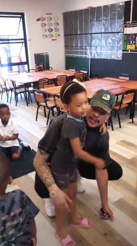 AKA walked his daughter Kairo Forbes into class.