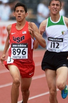 Fast-rising soph sensation Grant Fisher had the top performance of the 1500 prelims before taking 9th in the Final, combining with teammate Blake Haney's for a Team USA best-ever 5-9 finish.  Photo by Kirby Lee, Image of Sport.