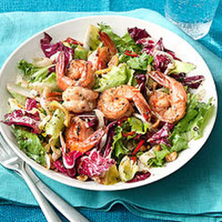 Tri-Color Salad with Hazelnuts and Sauteed Shrimp