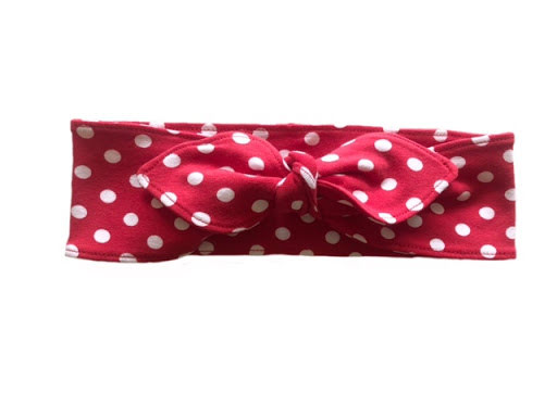 Made by DD - Hårband med knut Röd/vit-prick