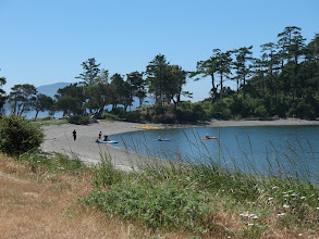 Photo: Day 8: Kayakers at Fox cove, Sucia Island.