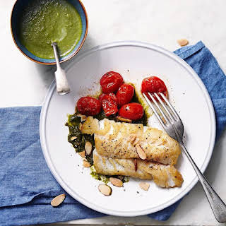 Seared Cod with Spinach-Lemon Sauce.