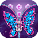 Diamond Butterfly Zipper Screen Lock icon
