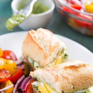Pesto and Egg Baguette Sandwich.