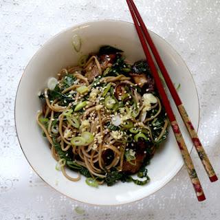Soba Noodles with Wasabi and Shiitake Mushrooms.