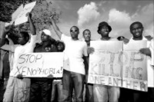 ENOUGH: Musicians and radio personalities marched against xenophobic attacks in Wattville, Ekurhuleni. Pic. Veli Nhlapo. 19/05/2008. © Sowetan.