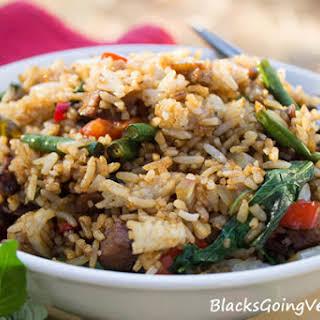 Vegan Spicy Thai Basil Fried Rice with Chick'n Seitan.