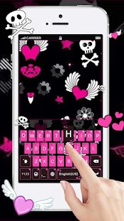 Pink Sexy Skull Keyboard Theme - náhled