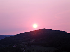 Photo: This evenings sunset after a cloudless day - all hazy and red/pink (on sunset mode with my camera turned the color even more pink) and, yes, it's fromthesame place - but the sun is setting more totheSouth by now.  for #allthingspink +All Things Pinkby +Barbara Sheeskin and for #pinkcircle +Pink Circle by +Cheryl Cooperand +lane langmade