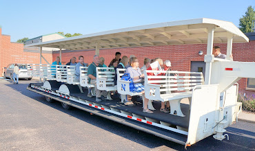 """Photo: For the rest of our tour of WCREC, we board a """"people mover"""" which takes us to various labs on the campus."""