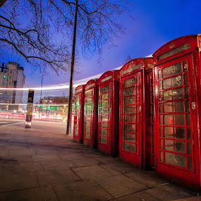 British Phone Booth by Aamir DreamPix - City,  Street & Park  Street Scenes ( lights, england, uk, bus, art, artistic, artistic objects, road, light, roads, bt,  )