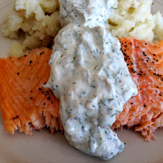 Salmon with Dill Sauce.