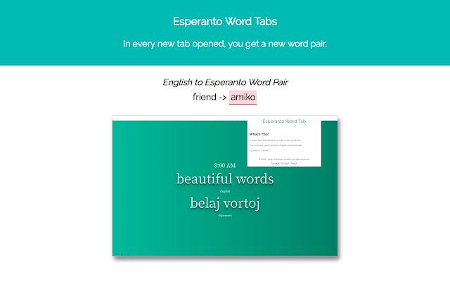 Esperanto Word Tabs