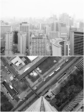 """Photo: [Two of a Kind]Inspired by my friend Jonathan Castellino's (see http://www.flickr.com/photos/jonathancastellino/) incredible diptych images and his """"Inscapes"""" project, I take a new look at an old rooftop location favourite.  #toronto  #rooftopping  #diptych  #urbex  #urbanexploration #blackandwhite"""