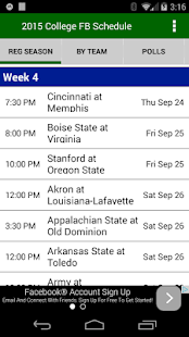 College Football Schedules - náhled