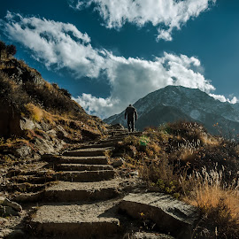 Man on a ledge by Akashneel Banerjee - Landscapes Mountains & Hills ( clouds, mountain, nature, himalaya, man,  )