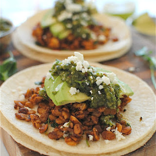 Tempeh Tacos with a Roasted Poblano Salsa