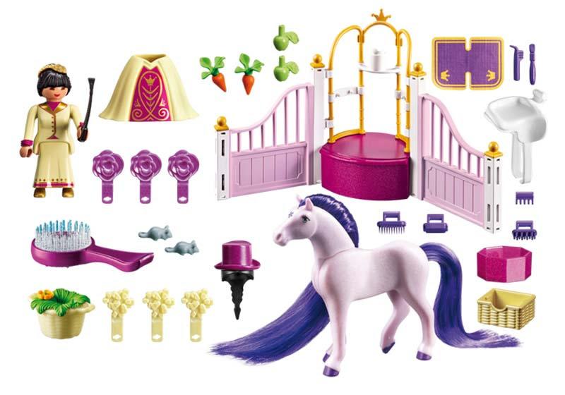 Contenido Real de Playmobil® 6855 Establo del Caballo Real