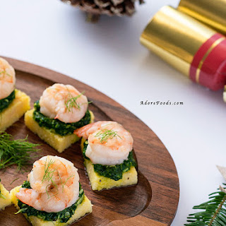 Polenta Squares with Garlic Shrimp (Prawn) and Spinach Pesto