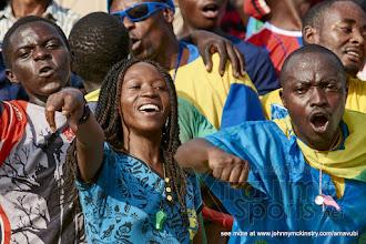 Photo: Rwanda fans at half time [Rwanda v Mauritius, AFCON 2017 Qualifier, 29 March 2016 in Kigali, Rwanda.  Photo © Darren McKinstry 2016, www.XtraTimeSports.net]
