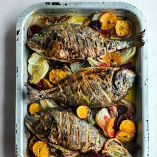 Baked sea bream w/Clementines, Fennel & Beetroot