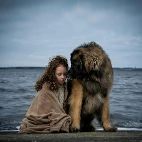 Closer by Una Williams Photos - Babies & Children Children Candids ( child, girl, ocean, dog, spring )