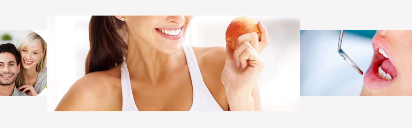 a lady with healthy teeth eating an apple