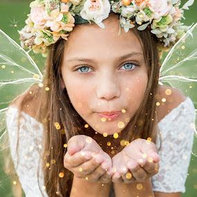 Fairy Dust by Michele Dan - Digital Art People ( girl child, girl, beautiful eyes, fairy, fairy dust, glitter, fairytale )