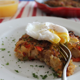 Spicy Veggie Breakfast Hash with a Poached Egg