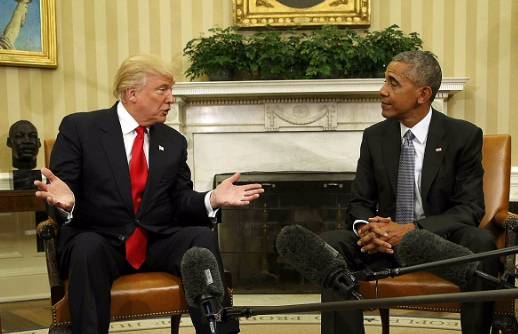 US President Barack Obama meets with president-elect Donald Trump in the White House Oval Office in Washington, the US, in this file photo. Picture: REUTERS/Kevin Lamarque