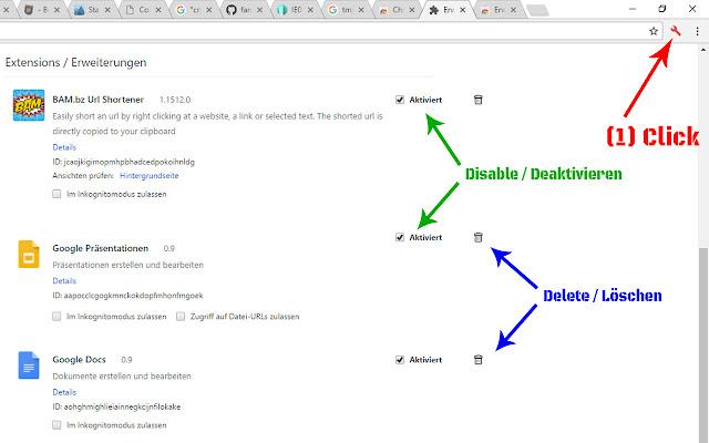 Delete, remove or disable Extension(s)