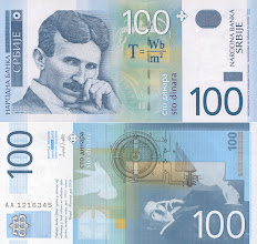 Photo: Nikola Tesla, 100 Serbian Dinar (2003). This note is still legal currency and is still in print.