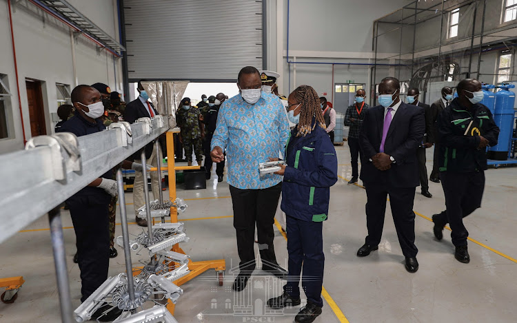 President Uhuru Kenyatta said the arms factory which is part of the National Security Industries Network is in line with the Manufacturing Pillar of the Big Four Agenda, as well as the Kenya Vision 2030./PSCU