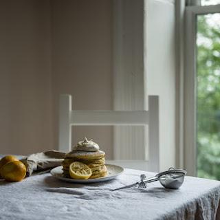 Meyer Lemon Ricotta Pancakes, With Chamomile Whipped Cream.