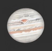 Photo: Jupiter, 25 juin 2019 à 22h55 TU. 470X en bino et ADC. Seeing médiocre.