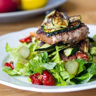 Lamb Feta & Black Olive Burgers With Grilled Zucchini
