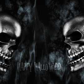 Happy Halloween. Human Skulls With Smoke And Fire 3D Rendering by Aleksandar Ilic - Typography Captioned Photos ( magic, treat, death, dangerous, trick or treat, dead, trick, anger, hell, antichrist, head, happy halloween, 3d, skeleton, halloween, holidays, design, fire, scary, skull, human, element, witchcraft, jaw, art, horror, old, festival, smoke, bone, crossbones, rendering, lantern, corps, satanic, animation, 3d render, magical, sorcery, light, crazy, illustration, style, october, evil, party )